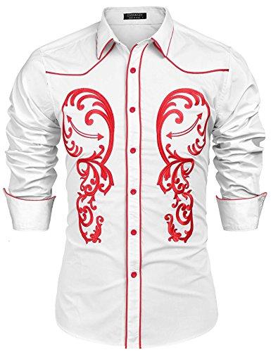 6f5c8139eb7 L Amore Mens Coofandy Casual Fashion Long Sleeve Shirt Embroidery Slim Fit Dress  Shirt Button Down Retro Shirts