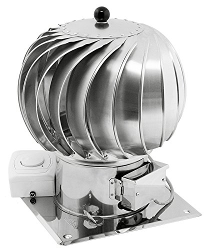 150mm Stainless Steel Rotating Spinning Hybrid Chimney Cowl Electric Motor Additional Roof Plate