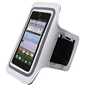 White ArmBand Workout Case Cover For ZTE Solar Z795G with Free Pouch
