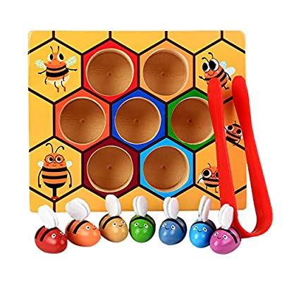 CMrtew ❤️ Wooden Lovely Bee Picking Toy Catching Practices for Baby Early Educational Toddler Montessori Game Colorful Beehive Box (Multicolor, 16.5x13.8x4cm): Toys & Games