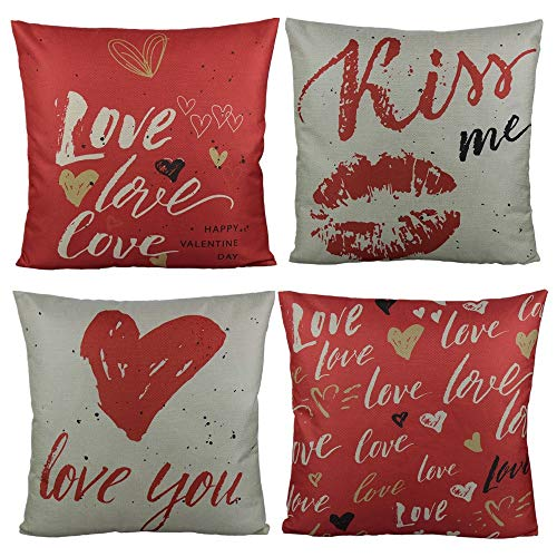 All Smiles Valentine's Day Throw Pillow Cover Case Cushion 18 x 18 Inch Set of 4 Red Love Heart Romantic Kiss Quote for Home Décor Lover Cotton Linen