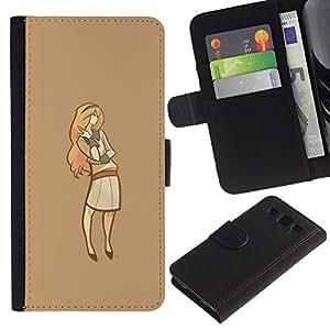 KLONGSHOP // Tirón de la caja Cartera de cuero con ranuras para tarjetas - Minimalista Señora - Samsung Galaxy S3 III I9300 //