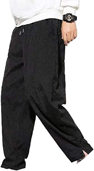 AngelSpace Men Oversized Waistband Stretchy Long Pants Chinese Style Leg Pants