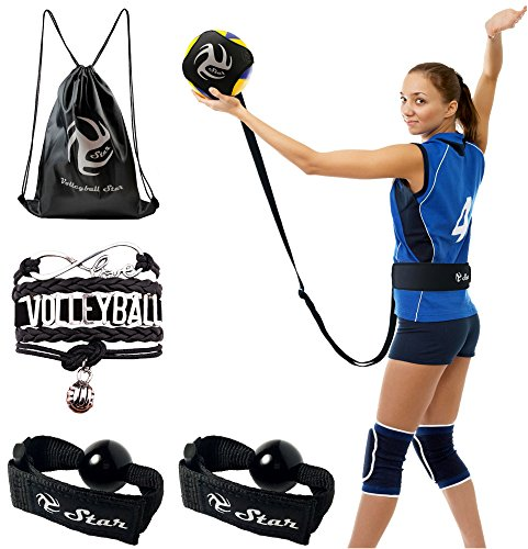 Volleyball Star Training Equipment - 1 Ball Rebounder for Solo Practice Your Serve And Spike +2 Setting Trainer Straps For a Proper Hand Placement +1 Drawstring Backpack +1 Handmade Bracelet