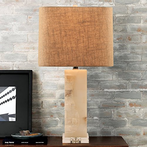 """Alabaster Contemporary Table Lamp - Alabaster Table Lamp,23.5""""H Square Marble Desk Lamp with Clear Crystal Base,Natural Linen Shade,Harp Construction"""