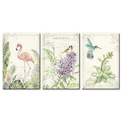 Unbelievable Portrait, 3 Panel Vintage Style Birds Flowers on Floral Background x 3 Panels, Premium Creation
