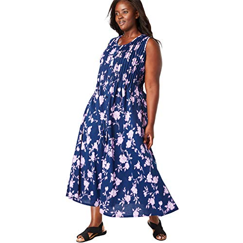 Woman Within Women's Plus Size Pintucked Floral Sleeveless Dress - Evening Blue Blossom, L