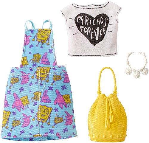 Barbie SpongeBob White Top and Blue Overall Dress Fashion Pack