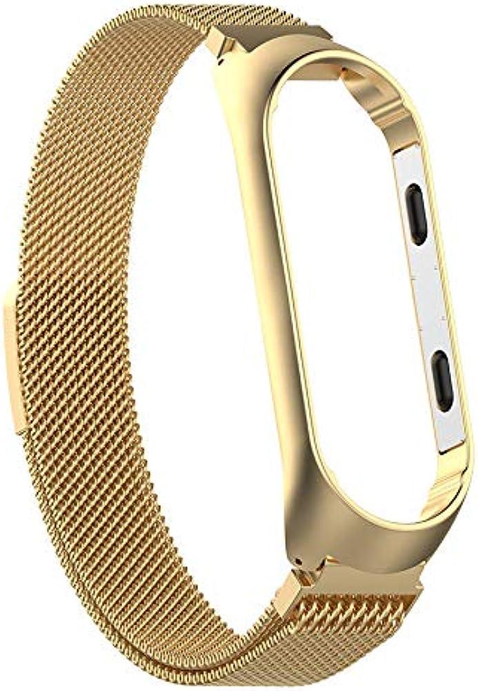 SMIRK SUMER para Xiaomi Mi Band 3 Fitness Tracker Banda de Reloj, Magnet Lock Quick Release Loop Reemplazo de Acero Inoxidable Bandas de Correa de ...