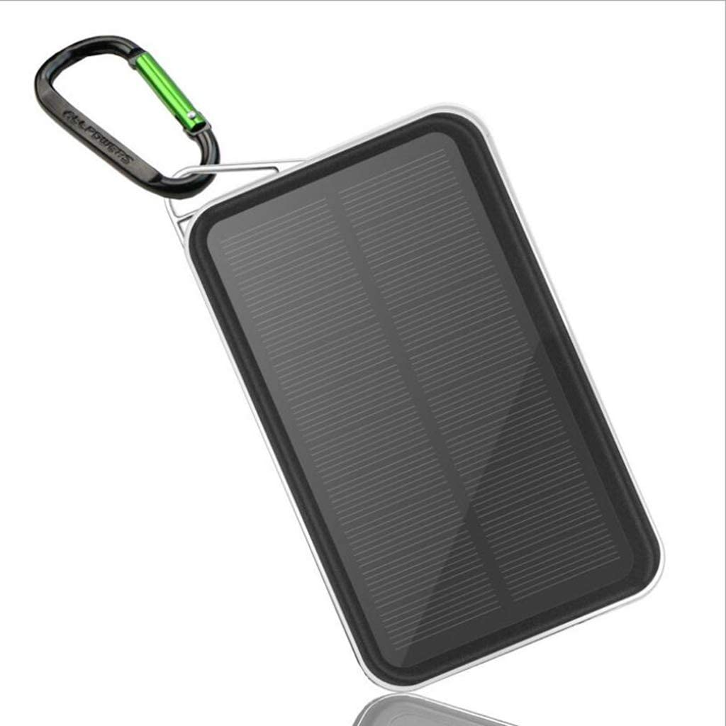 A&Dan Solar ChargerPortable Outdoor Waterproof Mobile Power Bank 15000mAh,Camping External Backup Battery Pack Dual USB 5V for Multiple Smartphones,Silver