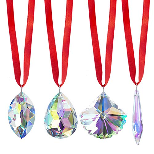 H&D Pack of 4 Crystal Icicle Bauhinia Scallop Horse Eye Prism Sun Catcher Rainbow Maker Ornaments for Home Decor
