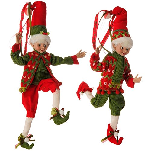 Elves Christmas Decorations - Red and Green Holly Posable Elf Set, 16 Inch