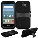 Cell Phones Accessories Lg Best Deals - Phone Case for Straight Talk LG Rebel 4g LTE (Tracfone) / LG Optimus Zone 3 4G LTE / LG K4 4g LTE (Verizon Wireless)/ LG Spree ( Cricket Wireless ) Rugged Heavy Duty Armo Cover Black Stand