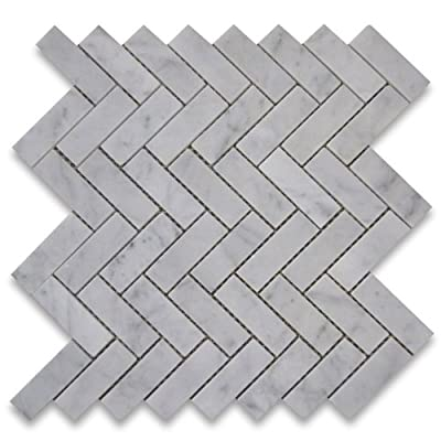 Carrara White Italian Carrera Marble Herringbone Mosaic Tile 1 x 3 Polished from Stone Center Online