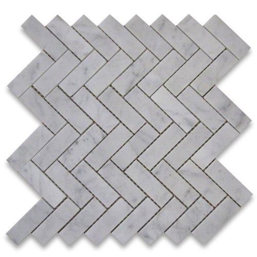 (Carrara White Italian Carrera Marble Herringbone Mosaic Tile 1 x 3 Polished)