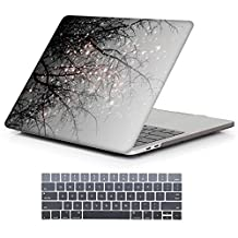 """iCasso Macbook New Pro 13 Case 2017 and 2016 Release Art Printing Cover For Macbook Pro 13""""Retina Model A1706/A1708 with/without Touch Bar and Touch ID with Keyboard Cover (Grey Tree)"""