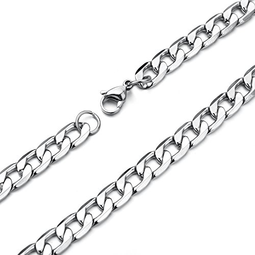 5MM 22 Inches Stainless Steel Curb Chain Necklace Mens Womens Necklace Jewelry