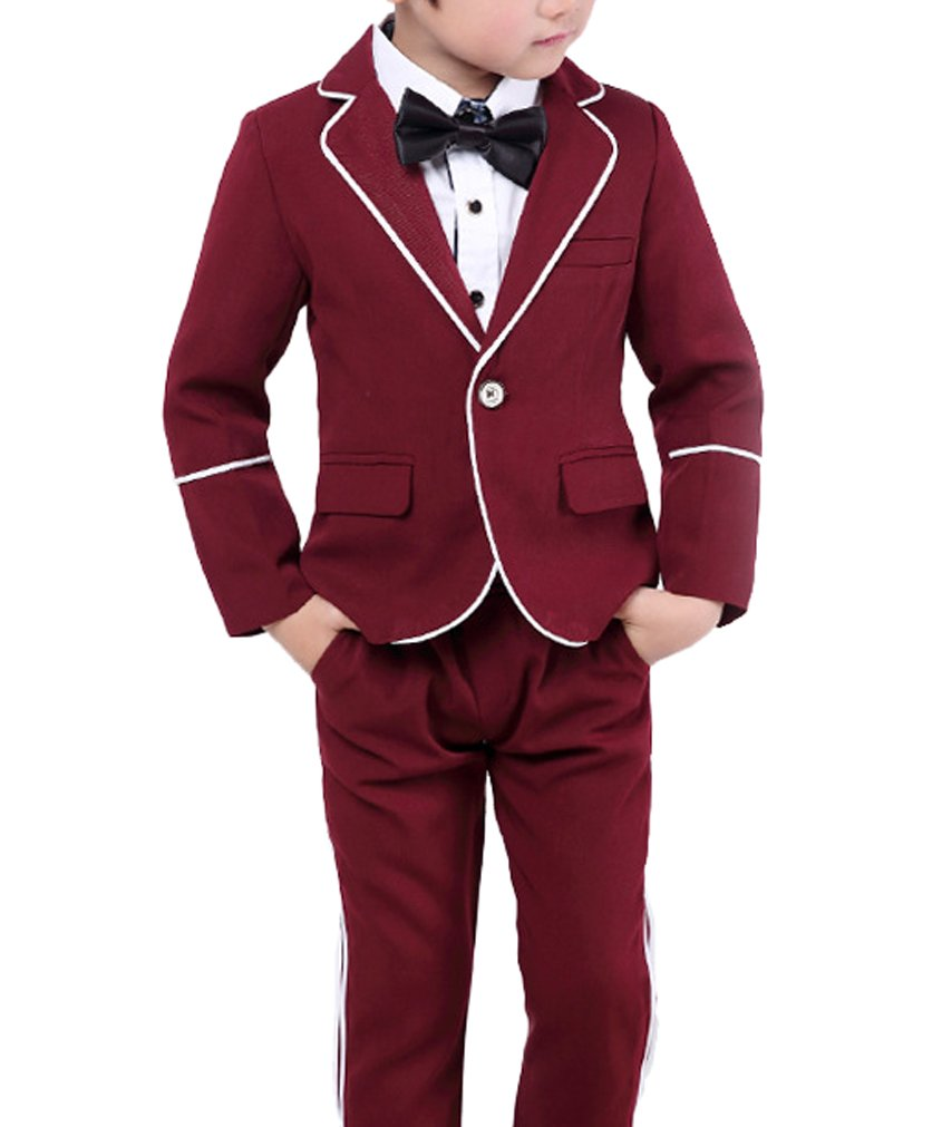 Boys Black Red Suits Set 3 Pieces for Wedding School Shows Party Festival Events (Red, 3T)