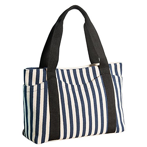 (Lavogel Women's Tote Bag Striped Canvas Shoulder Bags Top Handle Beach Handbag (Blue))