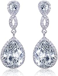 EVER FAITH 925 Sterling Silver Zircon Cream Freshwater Cultured Pearl Art Deco Heart Chandelier Dangle Earrings sm588