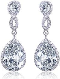 EVER FAITH 925 Sterling Silver Zircon Cream Freshwater Cultured Pearl Art Deco Heart Chandelier Dangle Earrings