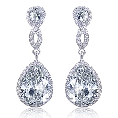 EVER FAITH® Zircon Austrian Crystal Wedding 8-Shape Pierced Earrings Silver-Tone