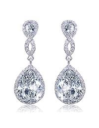 Ever Faith Silver-Tone Cubic Zicronia Crystal Infinity 8-Shape Teardrop Wedding Dangle Pierced Earrings