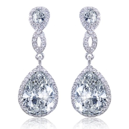 EVER FAITH Zircon Austrian Crystal Wedding 8-Shape Pierced Dangle Earrings Clear Silver-Tone