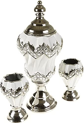 Almina 3-teiliges Dekoartikel Set Silber-weiss