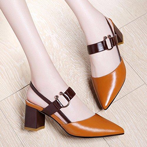 JRFBA-Zapatos Verano de Mujer Sandalias, Tacones Altos, Baotou Retro Palabra, aspero y Plaza, y la Version Coreana de los Zapatos de Las Mujeres. Brown