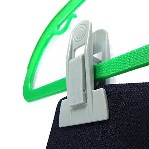 Ecolife Multi-purpose Plastic Hanger Clips Plastic Clips for Flocked Garment Trouser Hangers Set of 20, Grey
