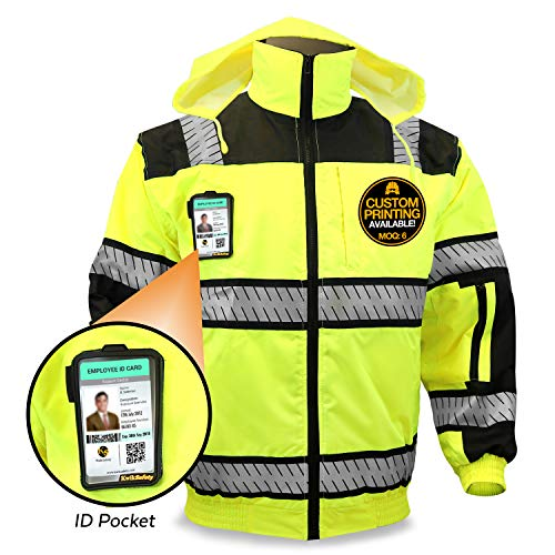 (KwikSafety (Charlotte, NC) ENFORCER | Class 3 Safety Bomber Jacket | High Visibility ANSI Compliant OSHA | Detachable Chest iPocket Foldable Hoodie Thermal Lining Construction Work Wear | XXX-Large)