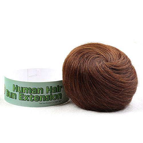 - Bella Hair 100% Human Hair Bun Extension Donut Chignon Hairpieces for Both Women and Men Instant Up Do Style Bun Wig (#4 Chocolate Brown/Dark Golden Brown)