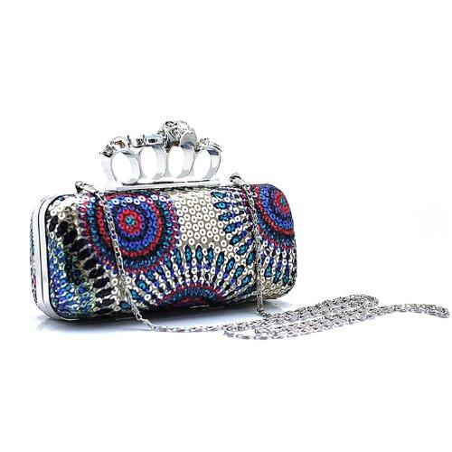 H:oter Frauen u. Mädchen Eleganz & Abschlussball-Partei-Abendhandtasche mit Kristall magischen Ring Griff, Handtasche, Geschenkideen - verschiedene Farben, Preis / Stück - lila