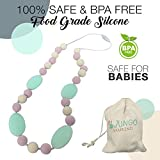 Baby : Teething Necklace For Moms To Wear and Baby To Chew, Chewbeads Chewlery Teether and Instant Pacifier for Teething Infants. Made From BPA Free Safe Silicon By JUNGO BAMBINO. (Pink Marshmellow)