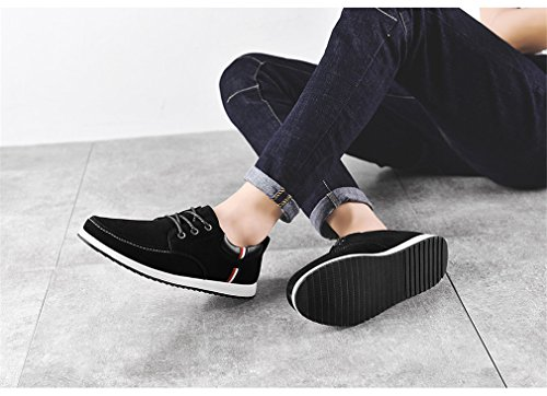 piatte S1622 Stringate in basse pelle Sneaker uomo uomo barca Mocassini Black scamosciata in casual pelle da maschili da Scarpe Scarpe Mocassini da x7wHRBAWq