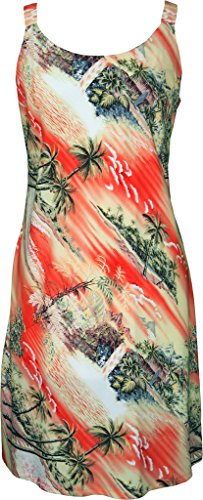 RJC Women's Tranquil Beach Short Hawaiian Bias Cut Slip Dress Orange Medium (Dress Tank Tranquil)