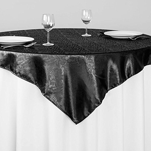 Buy linentablecloth 60-inch square satin overlay black