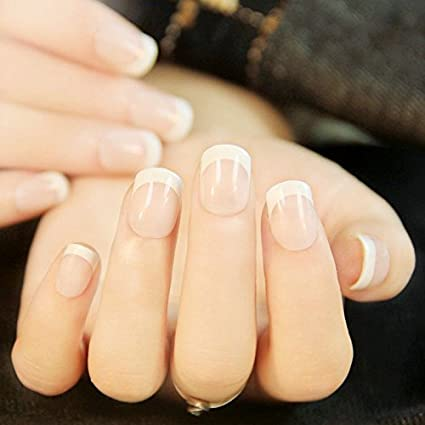 echiq corto falso Nails carne rosa clásica de acrílico francés completo uñas postizas