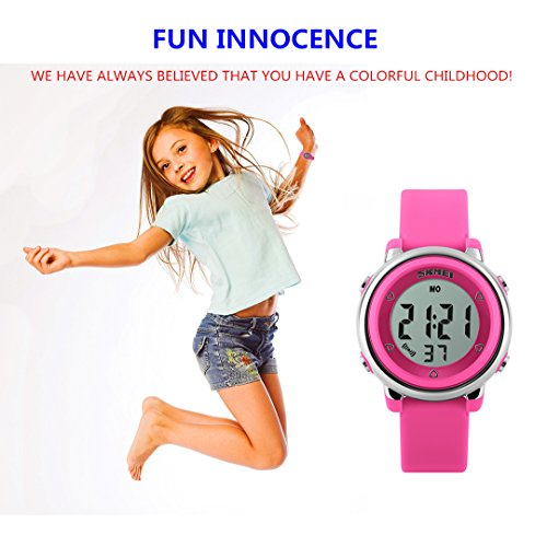 WUTONYU(TM) Children Digital Watch Kids Boy Girls LED Alarm Stopwatch Waterproof Wristwatches(Black) by WUTONYU (Image #1)