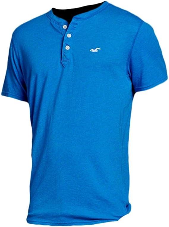 Hollister - Camiseta - Camiseta - Básico - con botones - Manga corta - para hombre azul azul XL: Amazon.es: Ropa y accesorios