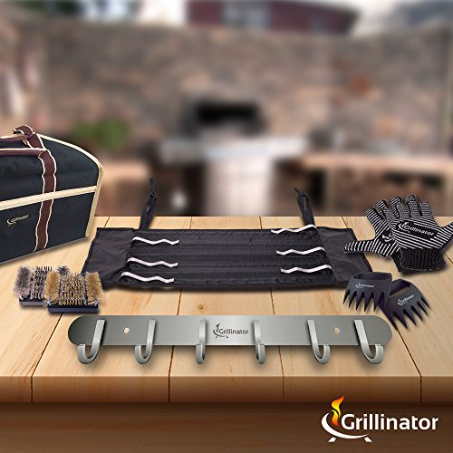 Grillinator BBQ Tool Rack - Polished Stainless Steel 6 Hook Storage for Grilling & Cooking Utensils - Easy to Install - Gas, Charcoal & Electric Grills - Indoor or Outdoor Use by Grillinator (Image #5)