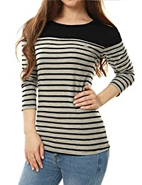 Allegra K Women's Long Sleeve Color Block Striped T-Shirt
