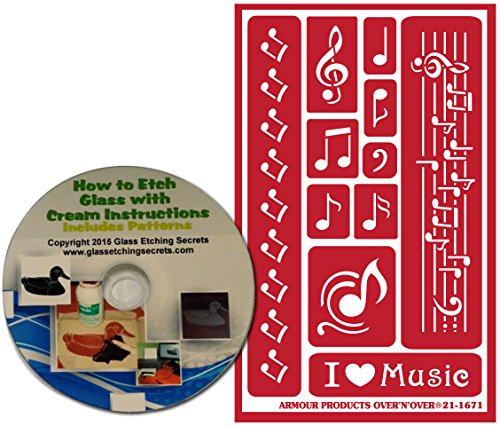 (Musical Notes Stencils for Glass Etching or Painting, Reusable + Free How to Etch CD )