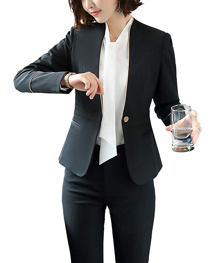 Black LISUEYNE Women's Two Pieces Work Office Blazer Jacket Lady Suit Slim Blazer Coat