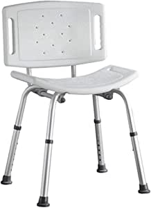 ZRL77y Shower Stool Bath Chair Height Adjustable Bathroom Seat Elderly Armrest Bathing Chair Disabled Armchair White -Bathroom Assist