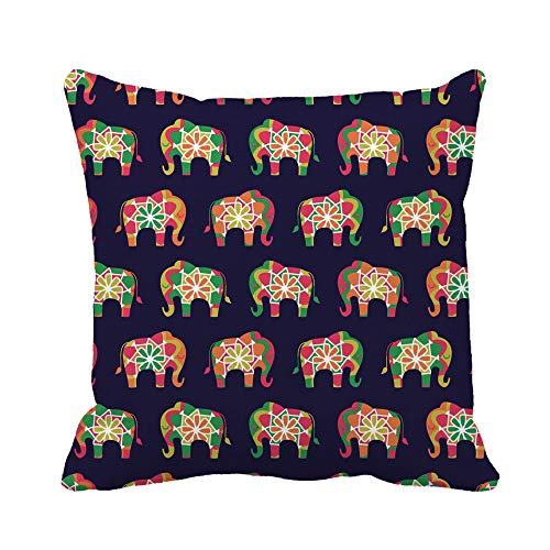 Awowee Throw Pillow Cover Colorful Elephant Pattern in Bright Asian Colour Palette Blue 16x16 Inches Pillowcase Home Decorative Square Pillow Case Cushion Cover
