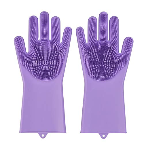 Magic Silicone Gloves with Wash Scrubber,Latex free,household cleaning gloves, Dishwashing glove, kitchen glove 1 Pair (Purple)