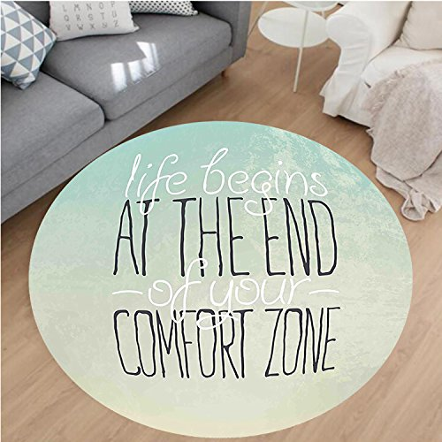 - Nalahome Modern Flannel Microfiber Non-Slip Machine Washable Round Area Rug-e Decor Motivational Life Begins at The End of Your Comfort Zone Quote Concept Print Mint Area Rugs Home Decor-Round 47