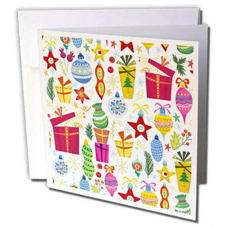 3dRose Anne Marie Baugh - Christmas - Cute Fiesta Christmas Gifts and Ornaments Pattern - 12 Greeting Cards with envelopes (gc_289301_2)